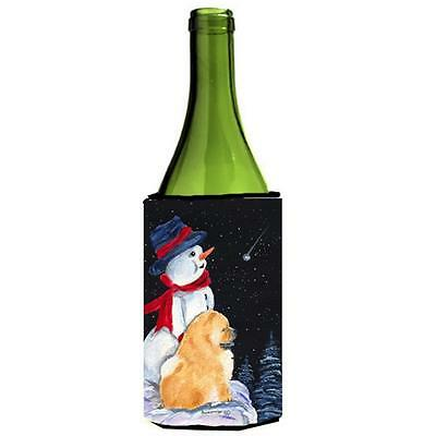 Carolines Treasures Snowman With Chow Chow Wine bottle sleeve Hugger 24 oz.