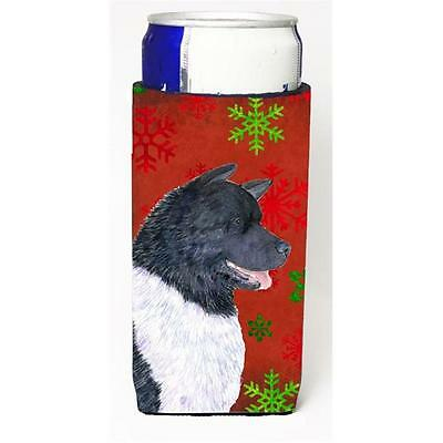 Akita Red And Green Snowflakes Holiday Christmas Michelob Ultra bottle sleeve...