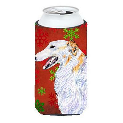 Borzoi Red And Green Snowflakes Holiday Christmas Tall Boy bottle sleeve Hugg...