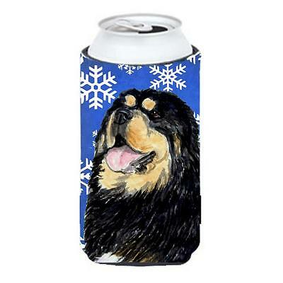 Tibetan Mastiff Winter Snowflakes Holiday Tall Boy bottle sleeve Hugger 22 To... • AUD 47.47