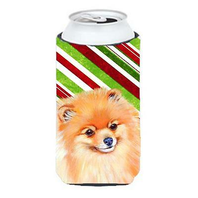 Pomeranian Candy Cane Holiday Christmas Tall Boy bottle sleeve Hugger 22 To 2...