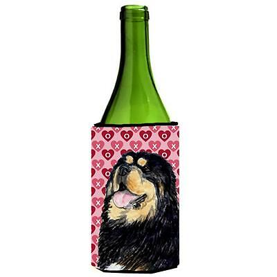 Tibetan Mastiff Hearts Love Valentines Day Wine bottle sleeve Hugger