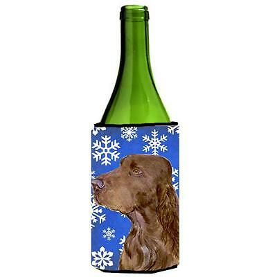 Field Spaniel Winter Snowflakes Holiday Wine bottle sleeve Hugger 24 oz.