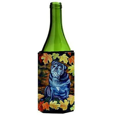 Old Black Pug In Fall Leaves Wine bottle sleeve Hugger 24 oz.