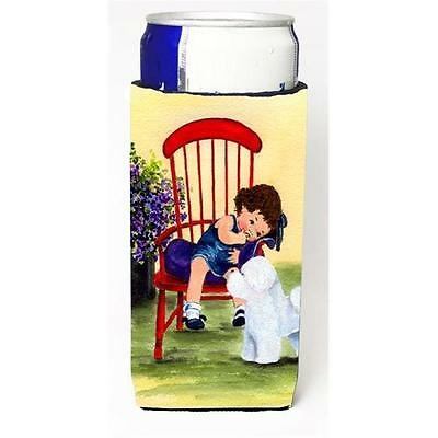 Little Girl With Her Bichon Frise Michelob Ultra bottle sleeves For Slim Cans...
