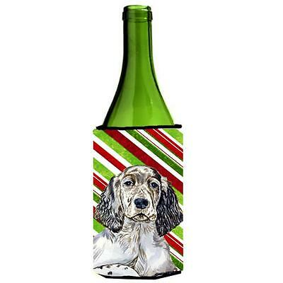 English Setter Candy Cane Holiday Christmas Wine bottle sleeve Hugger 24 oz.