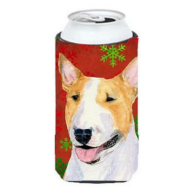 Bull Terrier Red And Green Snowflakes Holiday Christmas Tall Boy bottle sleev...