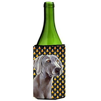 Weimaraner Candy Corn Halloween Portrait Wine bottle sleeve Hugger 24 oz.
