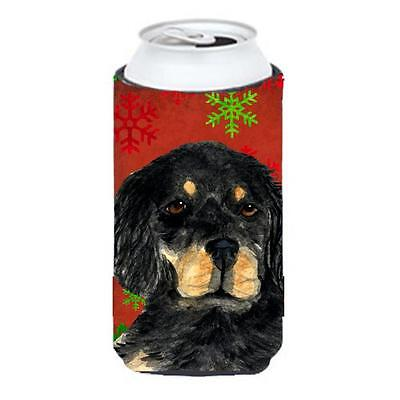 Gordon Setter Red Green Snowflakes Christmas Tall Boy bottle sleeve Hugger 22...