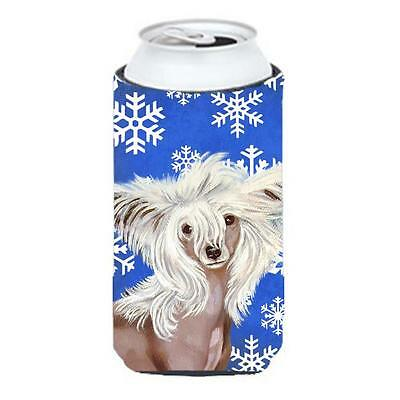 Chinese Crested Winter Snowflakes Holiday Tall Boy bottle sleeve Hugger 22 To...