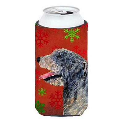 Irish Wolfhound Red And Green Snowflakes Holiday Christmas Tall Boy bottle sl...