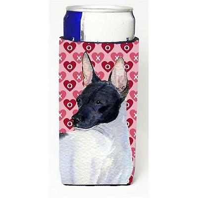 Rat Terrier Hearts Love And Valentines Day Portrait Michelob Ultra bottle sle...