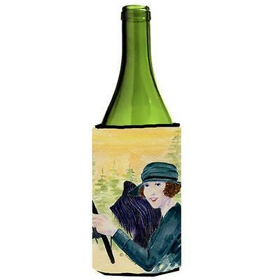 Lady Driving With Her Briard Wine bottle sleeve Hugger 24 oz.