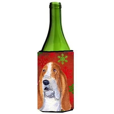 Basset Hound Red And Green Snowflakes Holiday Christmas Wine bottle sleeve