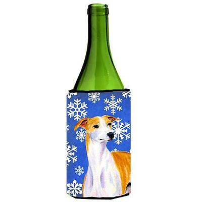 Whippet Winter Snowflakes Holiday Wine bottle sleeve Hugger 24 oz. • AUD 48.26