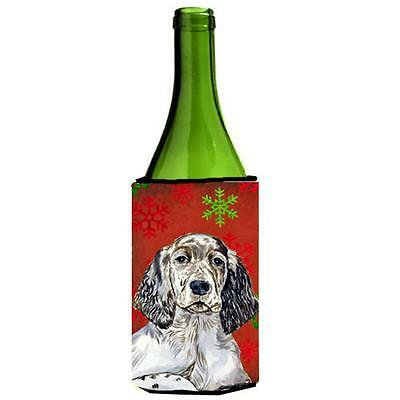 English Setter Snowflakes Holiday Christmas Wine bottle sleeve Hugger