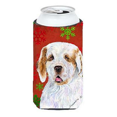 Clumber Spaniel Red And Green Snowflakes Holiday Christmas Tall Boy bottle sl...