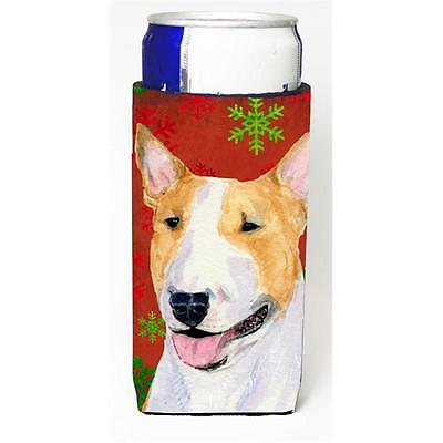 Bull Terrier Red And Green Snowflakes Holiday Christmas Michelob Ultra bottle...