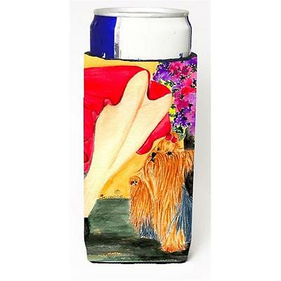 Carolines Treasures Lady With Her Yorkie Wine bottle sleeve Hugger 24 oz.