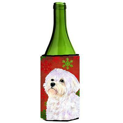 Maltese Red And Green Snowflakes Holiday Christmas Wine bottle sleeve Hugger ...