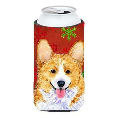 Corgi Red And Green Snowflakes Holiday Christmas Tall Boy bottle sleeve Hugge...