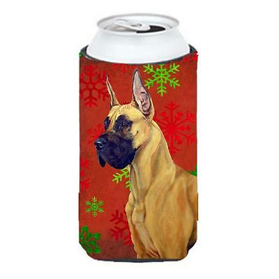 Great Dane Red And Green Snowflakes Holiday Christmas Tall Boy bottle sleeve ...