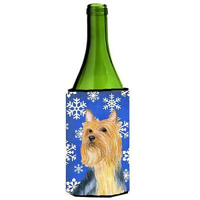 Silky Terrier Winter Snowflakes Holiday Wine bottle sleeve Hugger 24 oz.