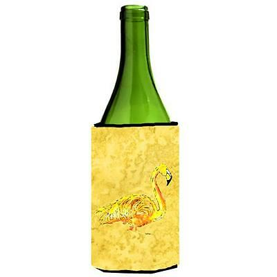 Carolines Treasures Flamingo On Yellow Wine bottle sleeve Hugger 24 oz.
