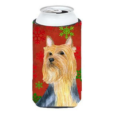 Silky Terrier Red Green Snowflake Holiday Christmas Tall Boy bottle sleeve Hu...
