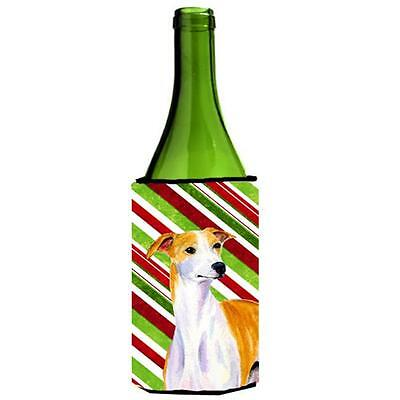 Whippet Candy Cane Holiday Christmas Wine bottle sleeve Hugger 24 oz.