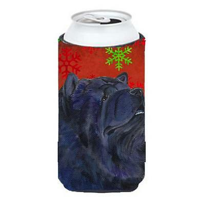 Chow Chow Red And Green Snowflakes Holiday Christmas Tall Boy bottle sleeve H...