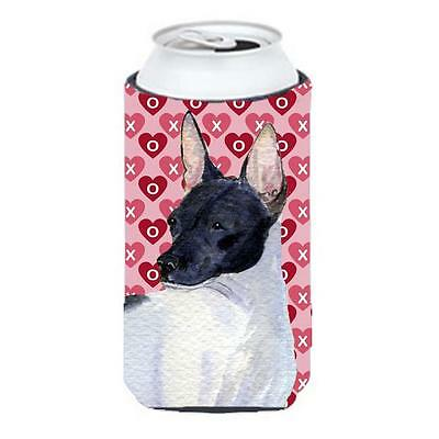Rat Terrier Hearts Love And Valentines Day Portrait Tall Boy bottle sleeve Hu...