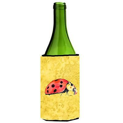 Carolines Treasures Lady Bug On Yellow Wine bottle sleeve Hugger 24 oz.