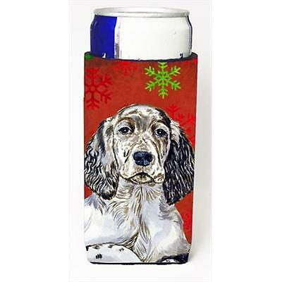 English Setter Red And Green Snowflakes Holiday Christmas Michelob Ultra bott...