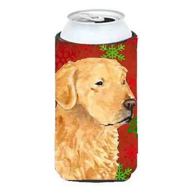 Golden Retriever Red Green Snowflake Holiday Christmas Tall Boy bottle sleeve...
