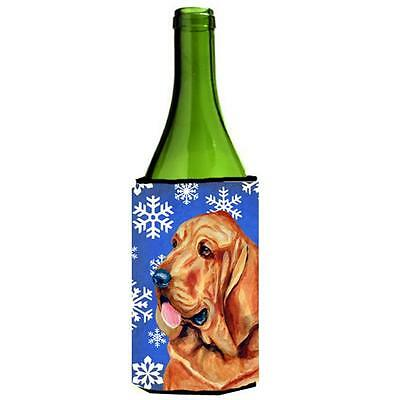 Bloodhound Winter Snowflakes Holiday Wine bottle sleeve Hugger 24 oz.