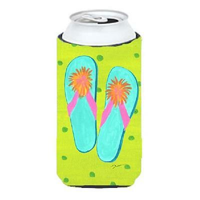 Carolines Treasures Flip Flops Lime Green Tall Boy bottle sleeve Hugger