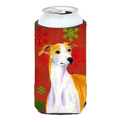 Whippet Red And Green Snowflakes Holiday Christmas Tall Boy bottle sleeve Hugger