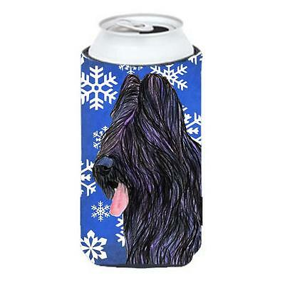 Briard Winter Snowflakes Holiday Tall Boy bottle sleeve Hugger 22 to 24 oz.