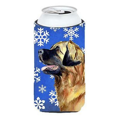 Leonberger Winter Snowflakes Holiday Tall Boy bottle sleeve Hugger 22 To 24 oz.