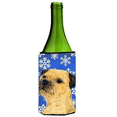 Border Terrier Winter Snowflakes Holiday Wine bottle sleeve Hugger 24 oz.