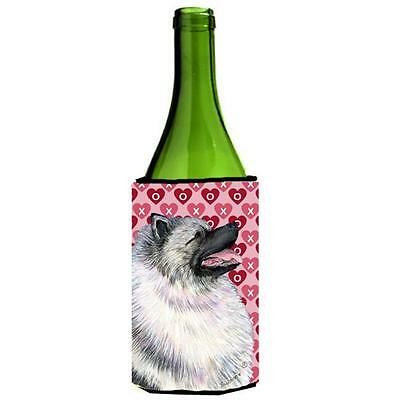 Keeshond Hearts Love And Valentines Day Portrait Wine bottle sleeve Hugger 24...