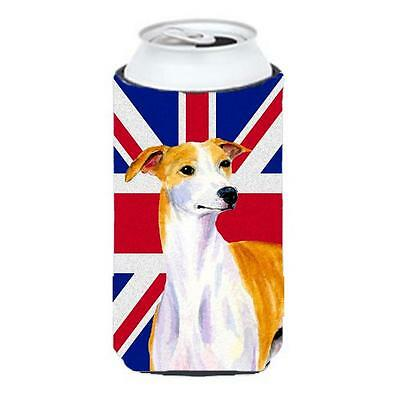 Whippet With English Union Jack British Flag Tall Boy bottle sleeve Hugger 22...