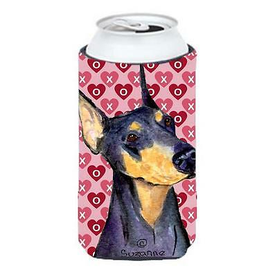 Doberman Hearts Love And Valentines Day Portrait Tall Boy bottle sleeve Hugge...