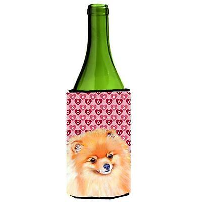 Pomeranian Hearts Love and Valentines Day Portrait Wine bottle sleeve Hugger