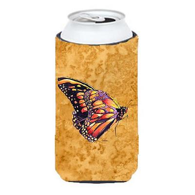 Carolines Treasures Butterfly On Gold Tall Boy bottle sleeve Hugger 22 To 24 oz.