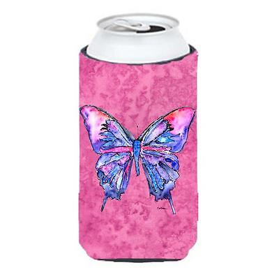 Carolines Treasures Butterfly On Pink Tall Boy bottle sleeve Hugger 22 To 24 oz.