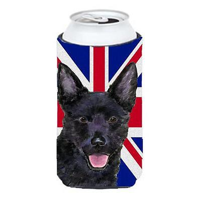 Australian Kelpie With English Union Jack British Flag Tall Boy bottle sleeve...