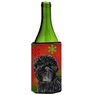 Affenpinscher Red Green Snowflakes Christmas Wine bottle sleeve Hugger 24 oz.