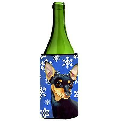 Min Pin Winter Snowflakes Holiday Wine bottle sleeve Hugger 24 oz.